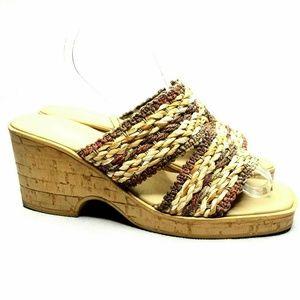 Onex Slip On Wedge Sandals Braided Woven Straw